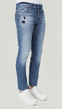 Синие джинсы Hugo Boss с черными вставками, фото