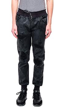 Мужские джинсы Philipp Plein серого цвета с заплатками, фото