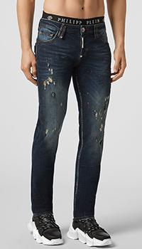 Синие джинсы Philipp Plein с эффектом потертости, фото