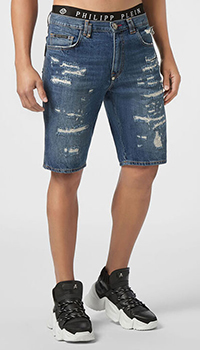 Мужские джинсовые шорты Philipp Plein с потертостями, фото