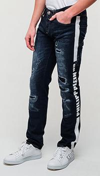 Джинсы Philipp Plein с брендовым лого сбоку, фото