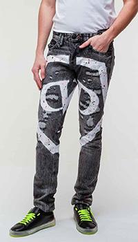 Серые джинсы Philipp Plein с потертостями, фото