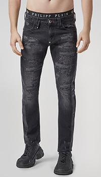 Черные джинсы Philipp Plein с принтом-черепом, фото