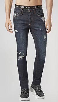 Синие джинсы Philipp Plein с потертостями, фото