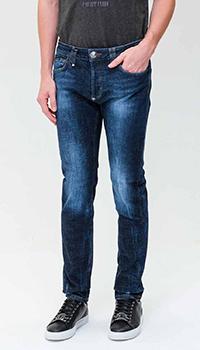 Синие джинсы Philipp Plein с нашивкой на поясе, фото