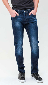 Прямые джинсы Philipp Plein синего цвета, фото