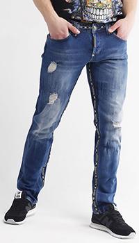 Джинсы Philipp Plein с декором-окантовкой из фирменной ленты, фото