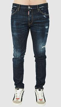 Мужские джинсы Dsquared2 темно-синего цвета, фото