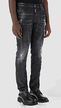 Черные джинсы Dsquared2 с логотипом на поясе, фото