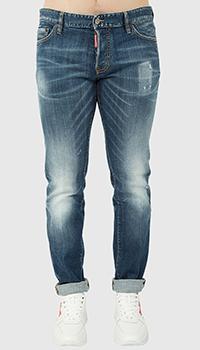 Синие джинсы Dsquared2 зауженного кроя, фото
