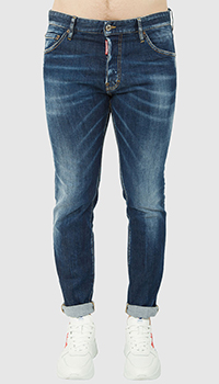 Синие джинсы Dsquared2 с заниженой посадкой, фото