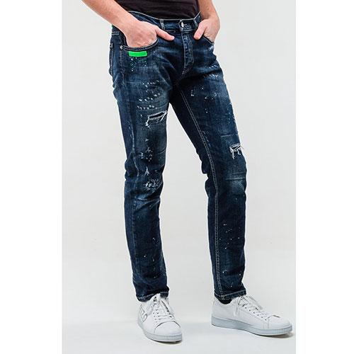 Синие джинсы Frankie Morello с пятнами краски, фото