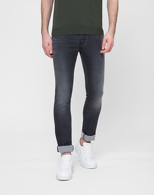 Серые джинсы Jacob Cohen с потертостями, фото