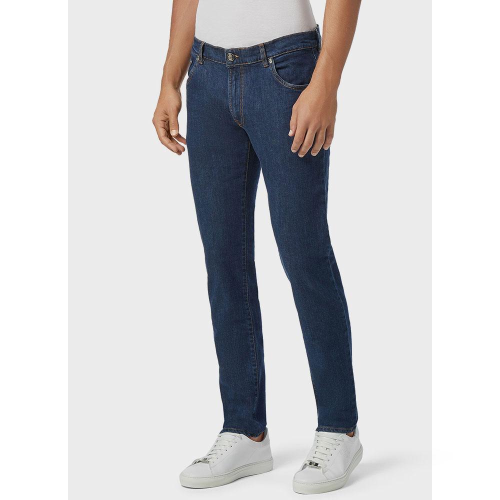 Синие джинсы Billionaire с вышивкой на кармане