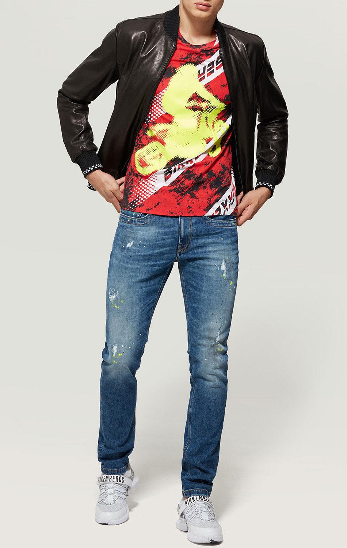 Голубые джинсы Bikkembergs с эффектом пятен от краски