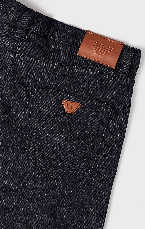 Темно-синие джинсы Emporio Armani с вышивкой-орлом