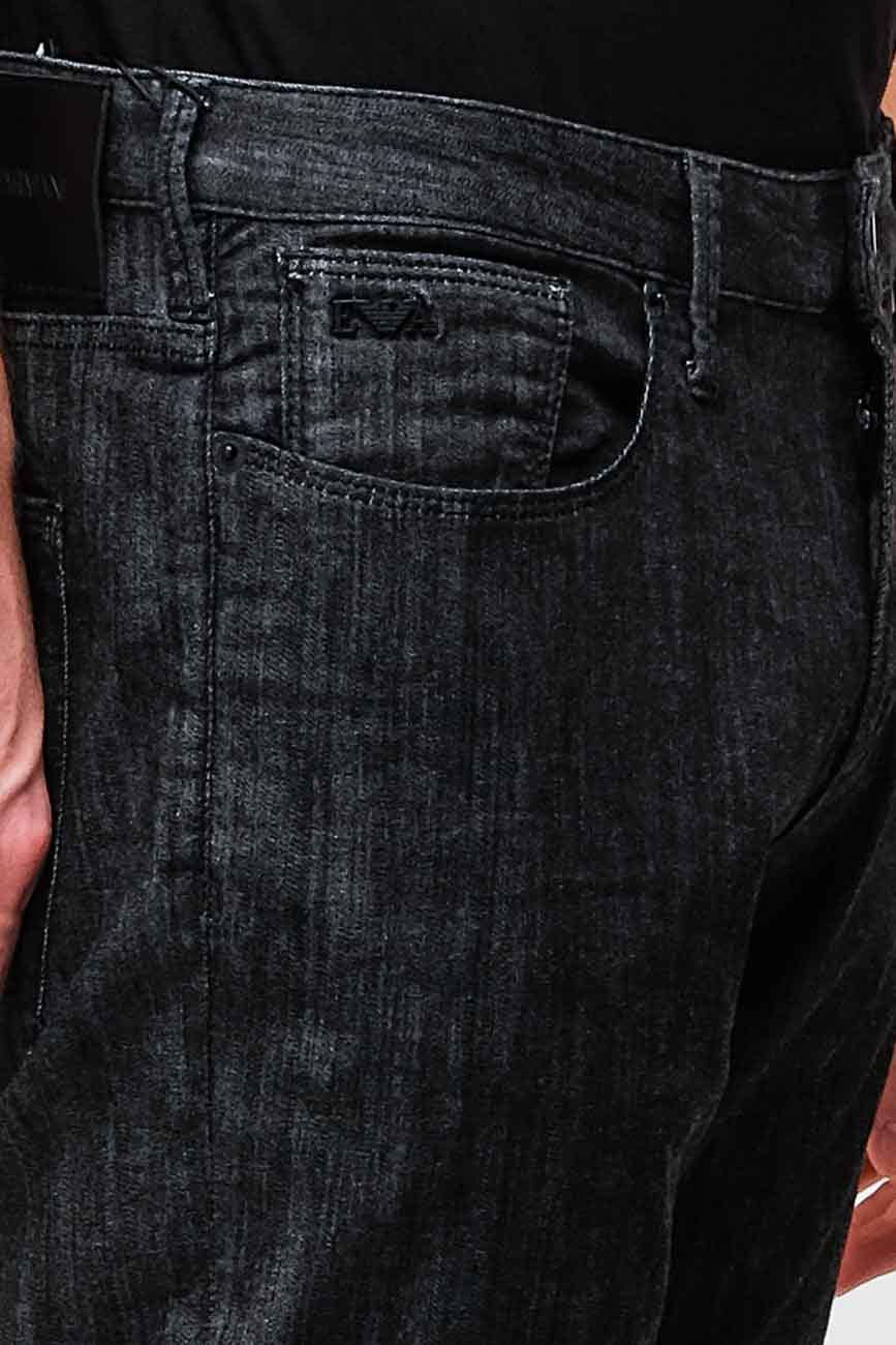 Зауженные джинсы Emporio Armani черного цвета