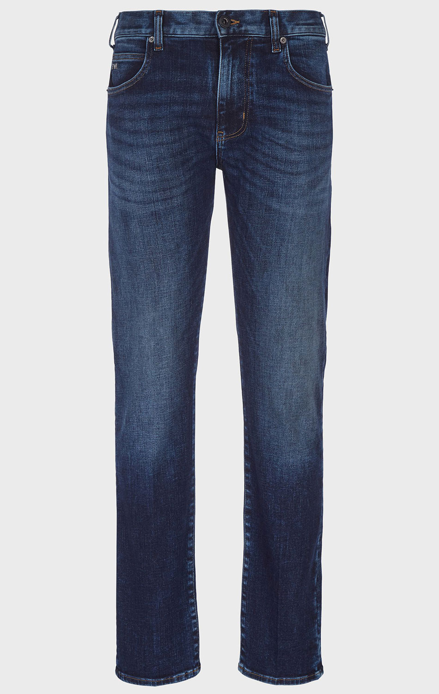 Синие джинсы Emporio Armani с эффектом потертости