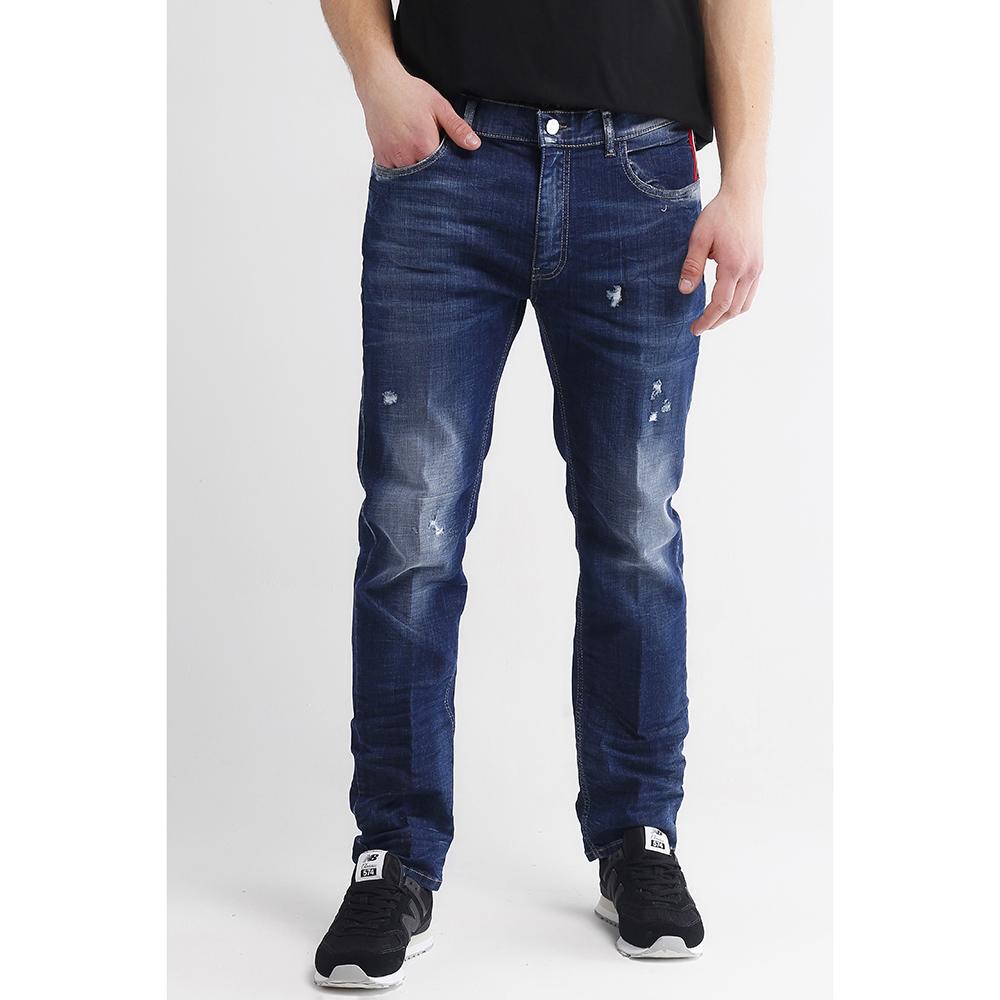 Синие джинсы Frankie Morello с потертостями