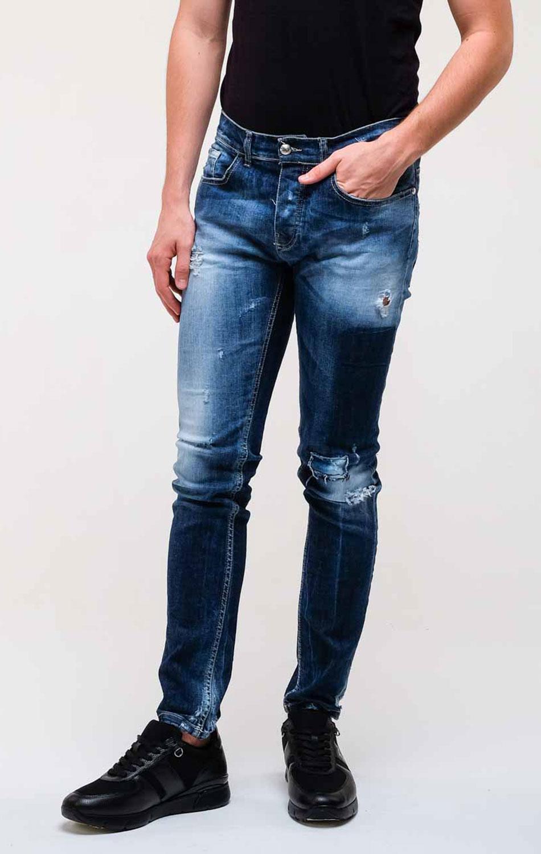 Синие джинсы Frankie Morello с эффектом делаве