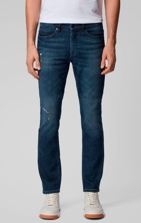 Синие джинсы Hugo Boss зауженного кроя