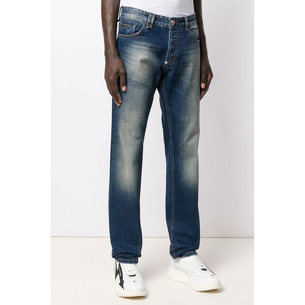 Синие джинсы Philipp Plein прямого кроя