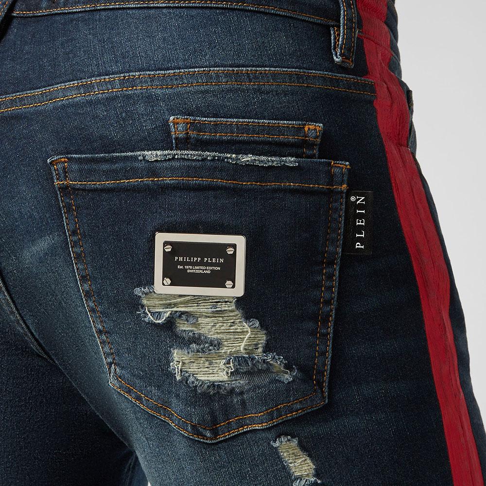 Синие джинсы Philipp Plein с лампасами