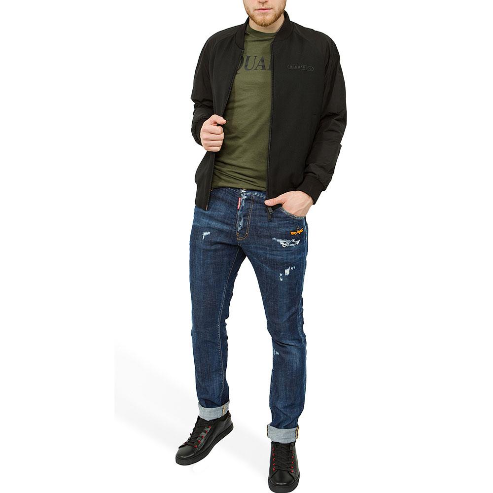 Синие джинсы Dsquared2 Cool Guy Jean с потертостями