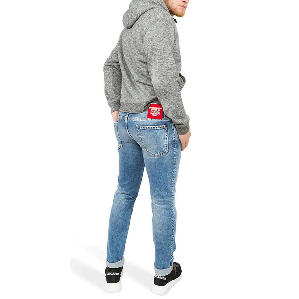 Мужские джинсы Dsquared2 Slim Jean из хлопка голубого цвета
