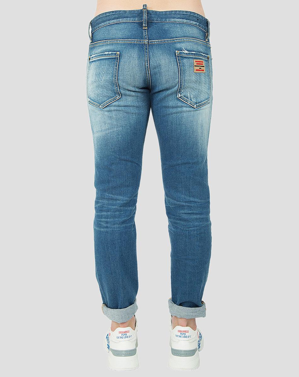 Синие джинсы Dsquared2 с потертостями
