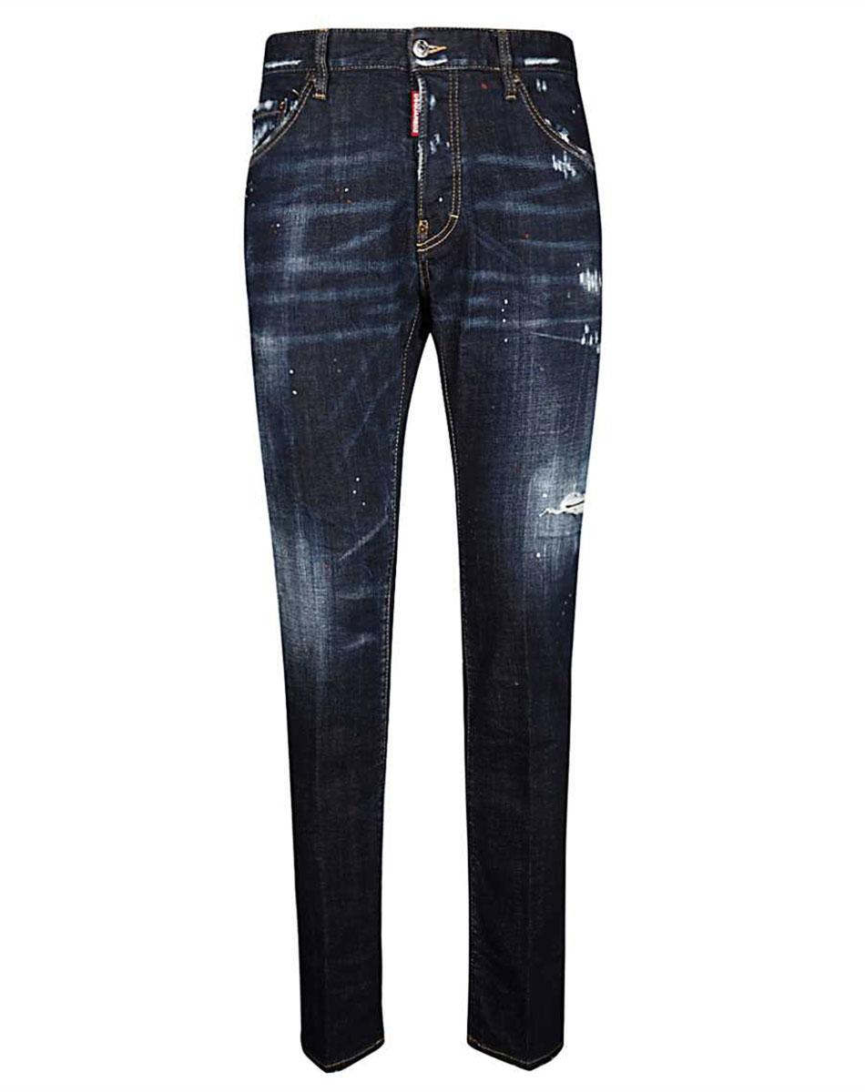 Темно-синие джинсы Dsquared2 с эффектом делаве