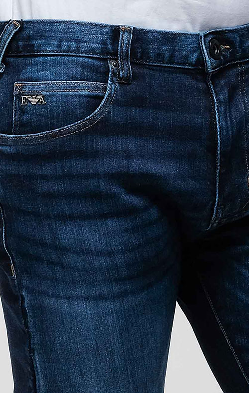 Синие джинсы Emporio Armani с эффектом потертости, фото