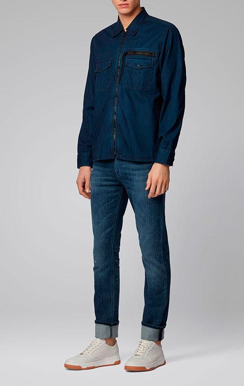 Синие джинсы Hugo Boss зауженного кроя, фото