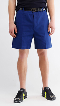 Синие шорты Gucci с красной вышивкой, фото