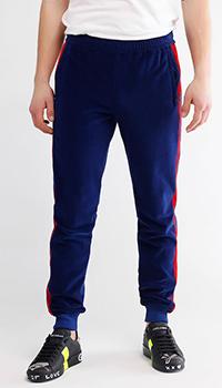 Синие спортивные брюки Gucci с красными лампасами, фото