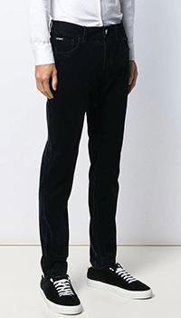 Темно-синие брюки Dolce&Gabbana с бархатной отделкой, фото