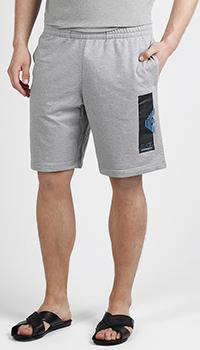 Хлопковые шорты Ea7 Emporio Armani серого цвета, фото