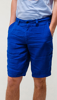Льняные шорты Emporio Armani синего цвета, фото