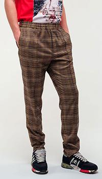 Клетчатые брюки Frankie Morello коричневого цвета, фото