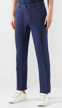 Синие брюки Hugo Boss из льна, фото