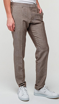 Мужские брюки Hugo Boss прямого кроя бежевого цвета, фото