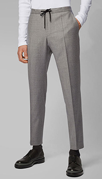 Серые брюки Hugo Boss с эластичным поясом, фото