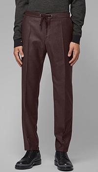 Коричневые  брюки Hugo Boss с поясом на шнуровке, фото