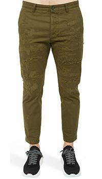Рваные брюки Dsquared2 Hochey Fit цвета хаки, фото