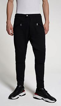 Черные брюки Dsquared2 с фактурными вставками, фото