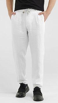 Льняные брюки Eleventy белого цвета, фото
