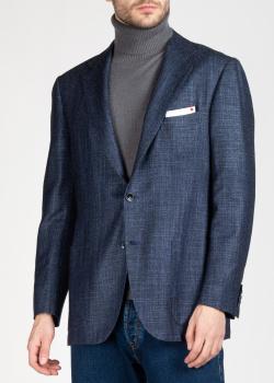 Синий пиджак Kiton с накладными карманами, фото