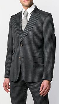 Мужской черный костюм Gucci в мелкий принт-лого, фото