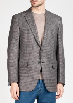 Шерстяной пиджак Brioni в серо-коричневую клетку, фото