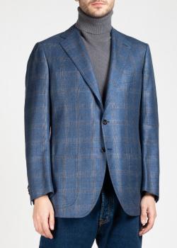 Пиджак в крупную клетку Kiton синего цвета, фото